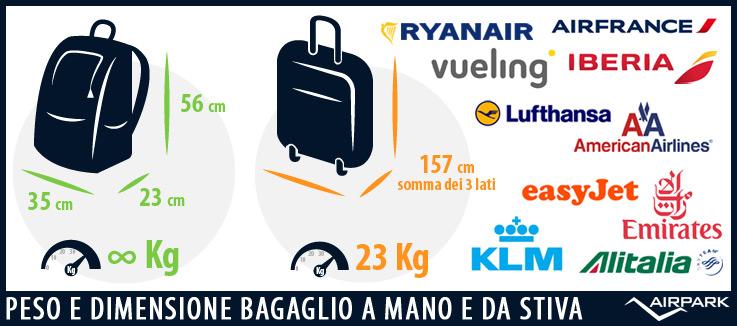 Peso e dimensione del bagaglio a mano e da stiva