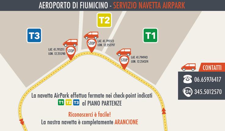 mappa aeroporto navetta airpark
